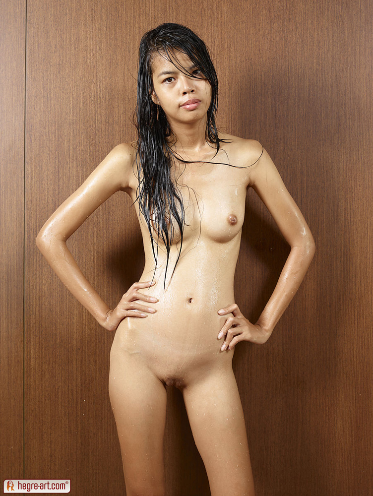 Skinny Thai University Student Model With Wet Hair-1748