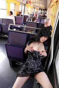 public strip in commuter train