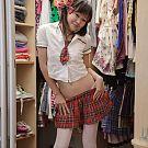 Behind scenes with sailor girl in her walkable closet