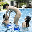 Group of three naked Pattaya ladies play and fool around in swimming pool