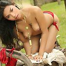 Amara Ranipas Strips Red Bikini