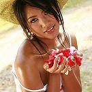 Pretty Thai woman Pla Pattama Rose Bathing in white ripped underwear