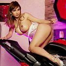 Motorcycle striptease in Nevada with iconic superstar model Francine Dee who is made up like a pinup doll