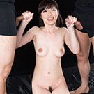 Slender Sara Yurikawa holds two penises in her hands and is ready to make them ejaculate on herself.