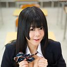 Jav student Shinjo Nozomi unveals her down blouse cleavage in teacher's classroom