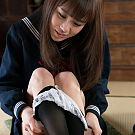 Sailor girl Yuzu Kitagawa rubs her teacher's penis with her feet in pantyhose